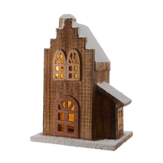Kerstdorp houten trapgevel huis  Kerstdorp houten trapgevel huis. Een trapgevel huis van natuurlijk hout en voorzien van warm wit LED licht. Geschikt voor bijvoorbeeld een Kerstdorp. Formaat: ongeveer 18 x 14 x 28 cm. Excl. 3 x AA batterijen.  EUR 18.95  Meer informatie