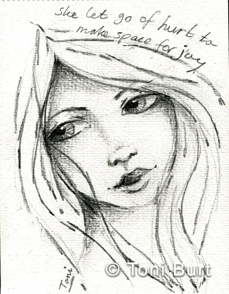 she let go of hurt to make space for joy - affirmation, a message for the soul - art journal graphite sketch, girls face