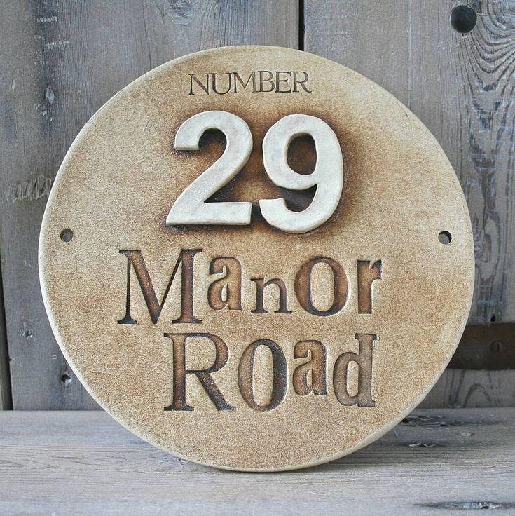 round ceramic house address sign by cherry pie lane | notonthehighstreet.com