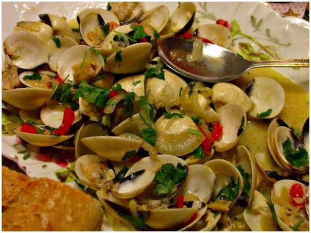 Clams, Portuguese style  This is a very delicious dish of clams and cured meats, cooked the Portuguese way.