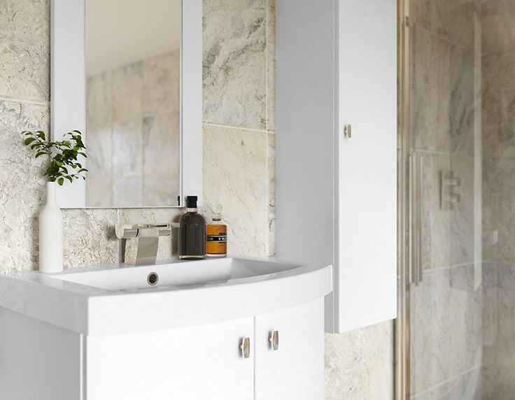 White Gloss Modular Bathroom Furniture - Stunning curved basin units looks amazing in White Gloss, and are available with a choice of doors or drawers.