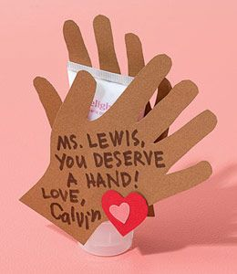 I know what the kids teachers are gonna get. So cute!  Cute Valentine craft for a child to give their teachers.Trace your child's hands cut the shapes out write a special messages and tape the hands around some nice hand lotion as a small gift.