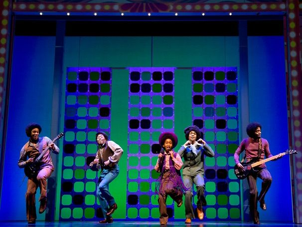 Raymond Luke, Jr. as Michael Jackson with the Jackson 5 in MOTOWN: THE MUSICAL. Production shots by Joan Marcus.