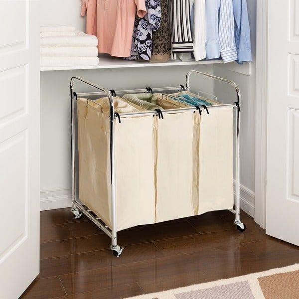 Seville Heavy Duty 3 Bag Laundry Hamper Sorter Silver Cotton Laundry Hamper Laundry Sorter Laundry Sorter Hamper