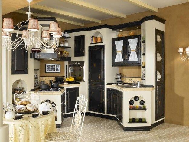 Cucina+nera+e+bianca+ - Modello+con+ante+di+colore+nero+in+finta+muratura