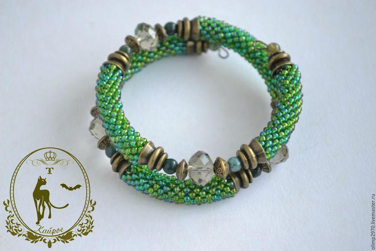 Купить Браслет из бисера - Вязание крючком, браслет, зеленый, натуральные камни, кристаллы, агат