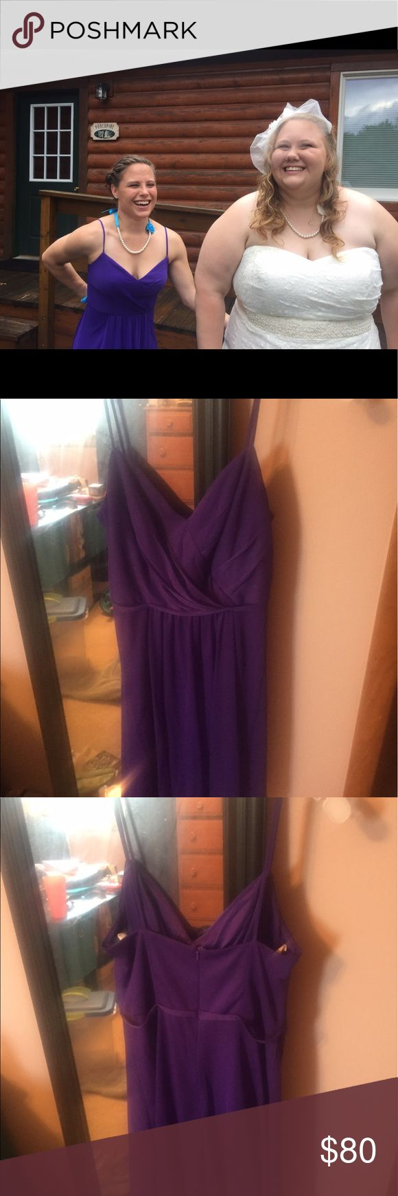 Purple David's Bridal bridesmaid party dress Size 2. I'm 5'0 and a 34C (see first picture). I had the straps shortened a tiny bit. Ask for measurements! I'm hoping this can go to another bridesmaid. I only wore this for about 8 hours! David's Bridal Dresses Midi