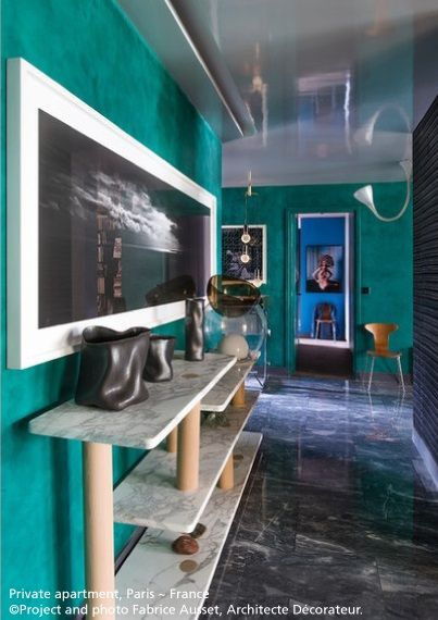 A great color on the walls and the suspension at the bottom: #Pipe suspension, #design Herzog & de Meuron