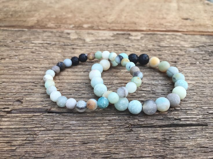 Amazonite gemstone bracelets With diffusing lava bead rock. #essentialoil