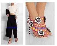 Лето стиль пэчворк женщины туфли на высоком каблуке сексуальный ну вечеринку высокая высокие каблуки кожа обувь девушку - сцена цветы декор сандалии пип-ноги палец на ноге
