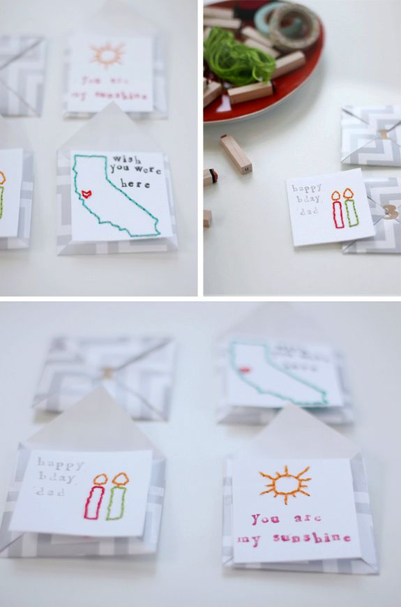 make these mini embroidered cards and handmade envelopes: Minis Embroidered, Crafts Ideas, Embroidered Cards, Crafty, Crafts Embroidery, Diy, Craft Ideas, Handmade Envelopes, Cards Handmade
