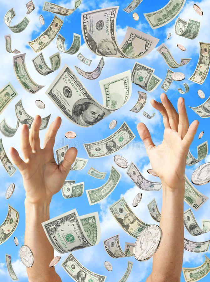 Raining Money Hands Catching Dollars. American money