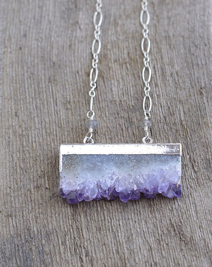 A personal favorite from my Etsy shop https://www.etsy.com/listing/227456915/amethyst-druzy-slice-sterling-silver