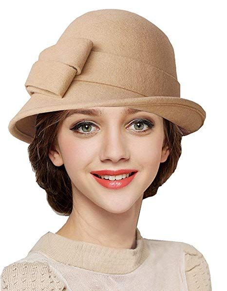 d6651ad2d0847 BAIMORE100% Wool Vintage Felt Cloche Bucket Bowler Hat Winter Women Church  Bowler Hats