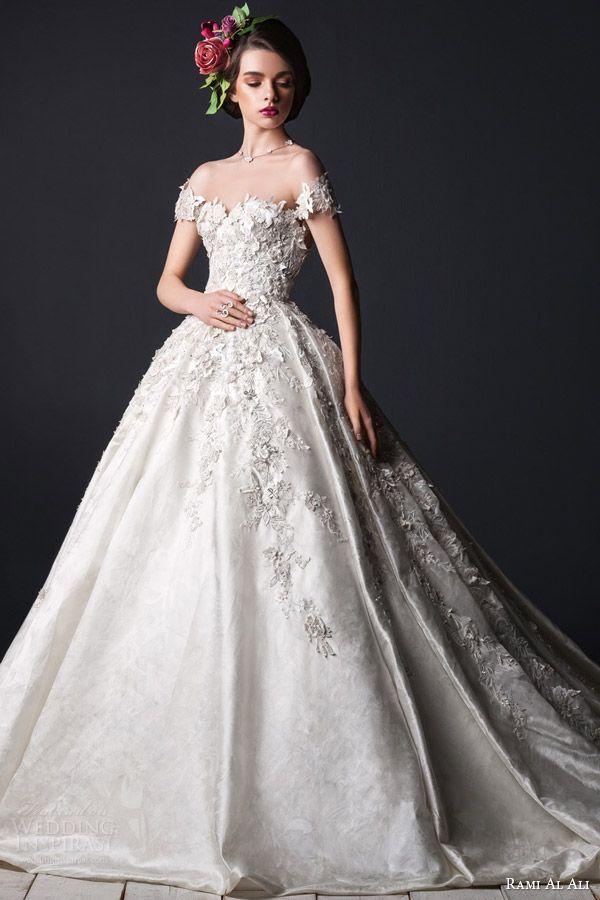 rami al ali bridal 2015 off shoulder short sleeve ball gown wedding dress applique