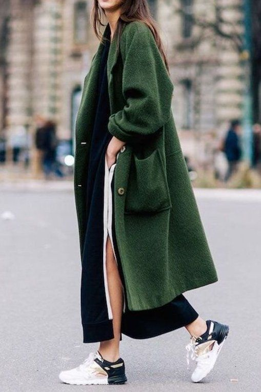 As the novelty of cold weather wears off, we start to get bored of our simple black coat. You can try to talk yourself out of it, but by the time February rolls around you're going to want another option, and there's no better time than the present to add a few fun options into your rotation.. Loving this green coat with sneakers!