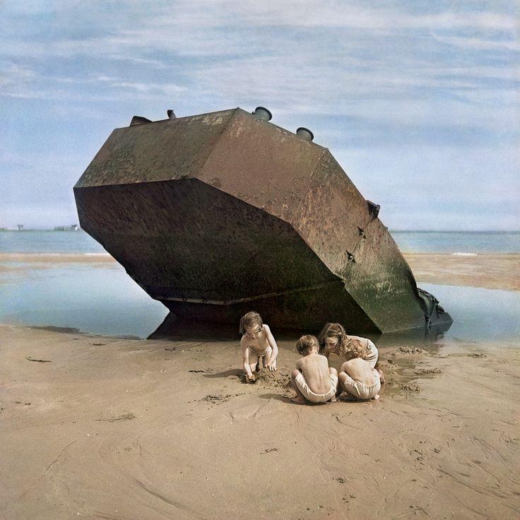 "David Seymour's ""Children playing on Omaha Beach, Normandy, France, 1947"""