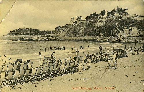 Surf bathing at Manly, New South Wales