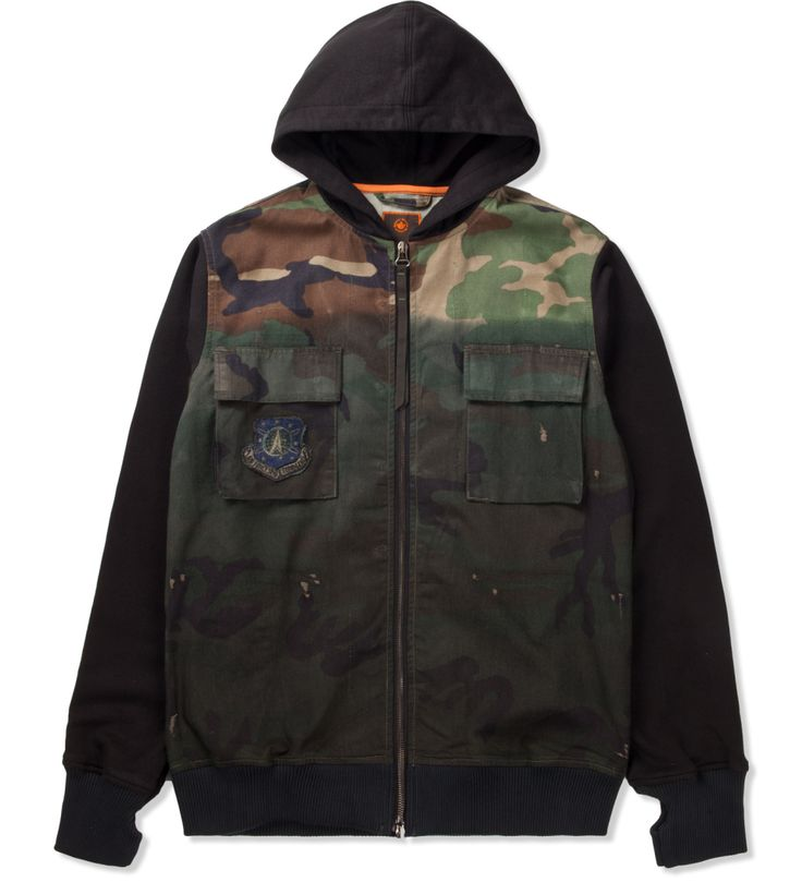maharishi Partial Dip Dyed Black Uncycled Hunter Hooded Sweater | Hypebeast Store