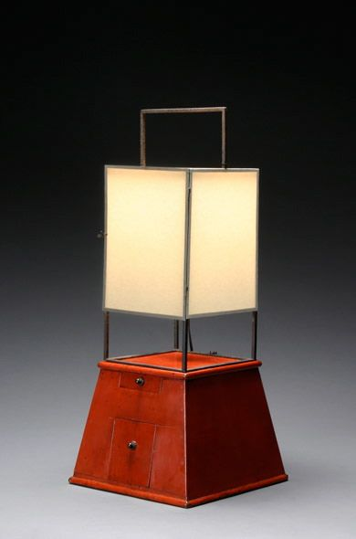 Japanese Iron and Red Lacquer Lantern Wired for Electricity / early 19th century
