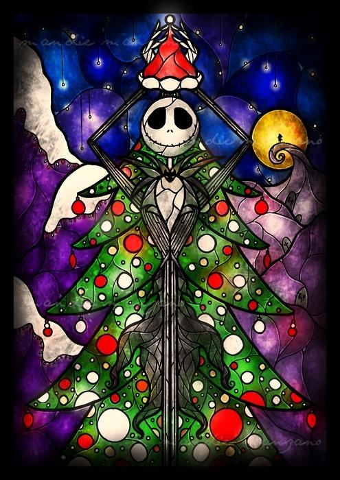 Merry Christmas! :): Stainedglass, Window, Christmas Art, Glasses Art, Tim Burton, Jack O'Connel, Nightmare Before Christmas, Stained Glasses, Jack Skellington