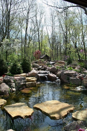 17 best images about ponds water features on pinterest for Stone koi pond