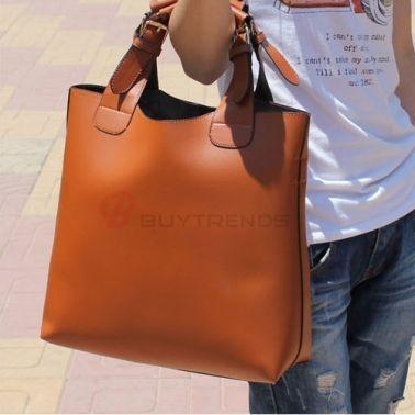 Popular Pure Color One-Shoulder All-Matched Handbag on buytrends.com