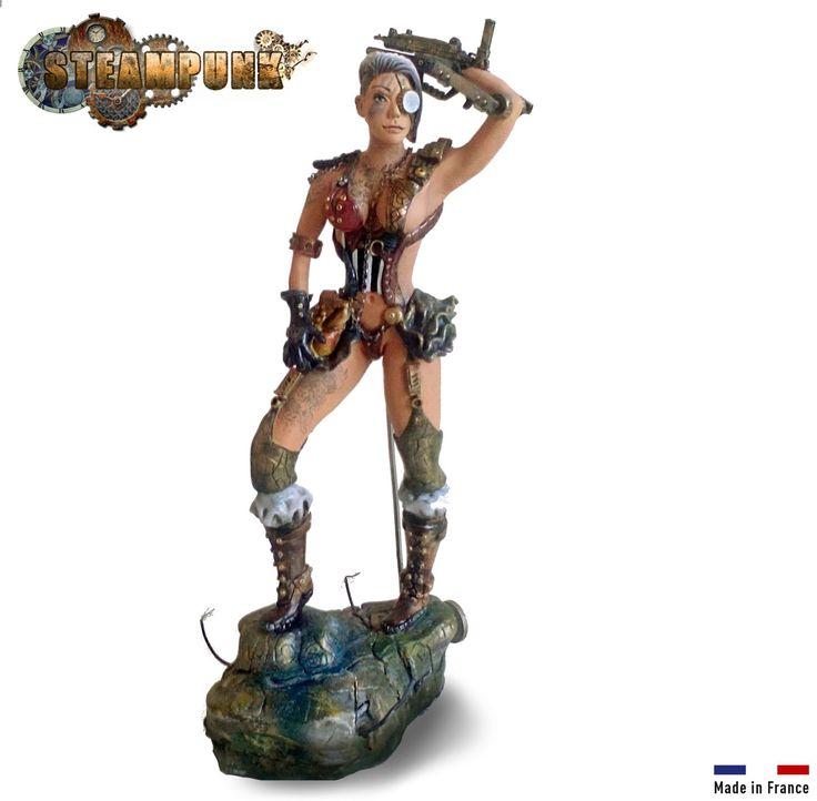 Figurine femme Robot bionique steampunk, inspirée des jeux BIOSHOCK et DISHONORED en argile naturel non cuite, faite : Sculptures, gravures, statues par figurinesheros
