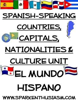 This 59 page Spanish-speaking countries, capitals, culture & songs packet AND 31 slide power point includes everything you need to teach about El Mundo Hispano. Students will have a blast with Hispanic music and great ways to remember all of this important cultural information. This packet has activities for beginning through advanced level Spanish courses along with answer keys.