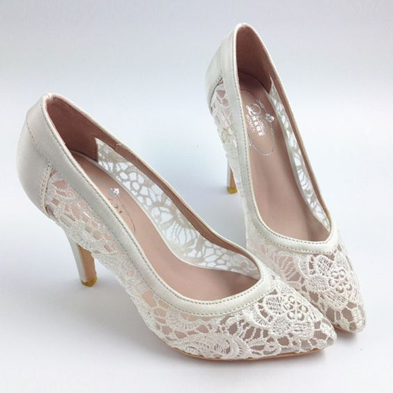 Sexy See Through High Heels Pointed Toe Lace Wedding Bridal Shoes, S001 Description - Platform Height: Flat - Heels: 8.5cm - Toe Shape: Pointed Toe - Inside Material: Leather - Outside Material: lace.