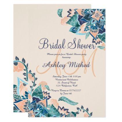 #monogrammed - #Modern floral coral teal watercolor Bridal Shower Card