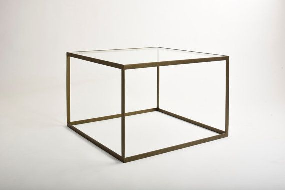 Metal coffee table with glass desk 'Kubisto' by KureliDesign $222