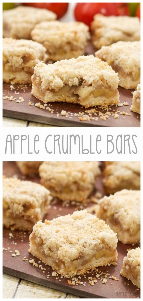 These look amazing --> Apple Crumble Bars via Sweet Pea's Kitchen #fall