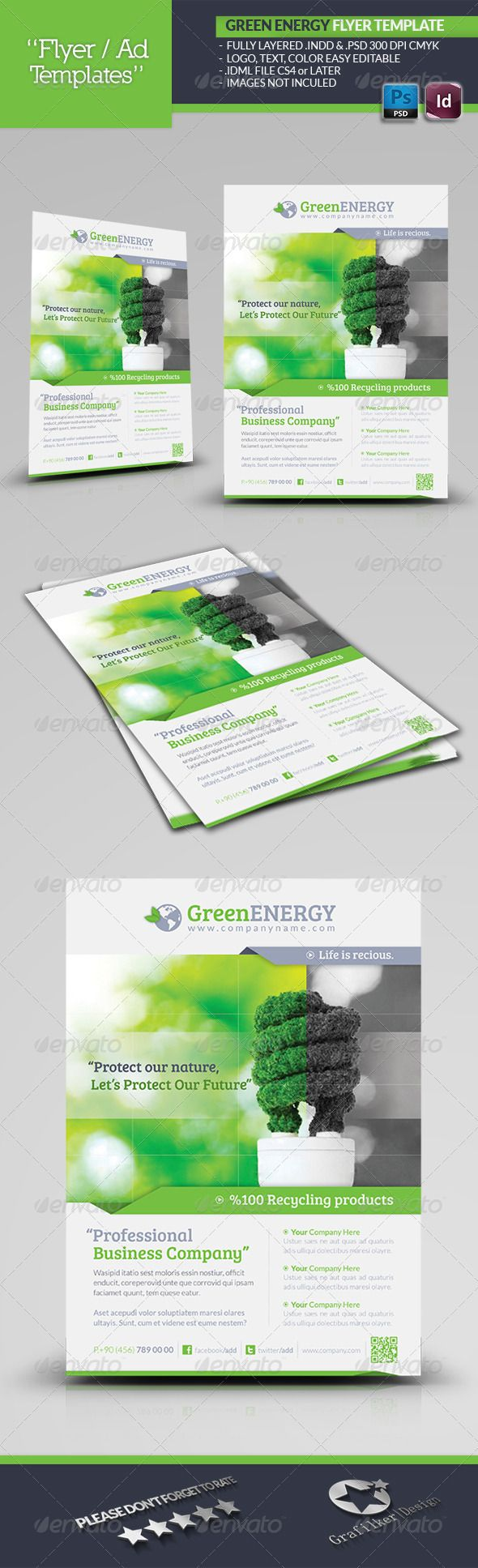 Green Energy Flyer Template #GraphicRiver Green Energy Flyer Template Fully layered INDD Fully layered PSD 300 Dpi, CMYK IDML format open Indesign CS4 or later Completely editable, print ready Text/Font or Color can be altered as needed All Image are in vector format, so can customise easily Photos are not included in the file Font File: Lato Font: .fontsquirrel /fonts/lato Bree-serif: .fontsquirrel /fonts/bree-serif Help.txt file Created: 11June13 GraphicsFilesIncluded: PhotoshopPSD…