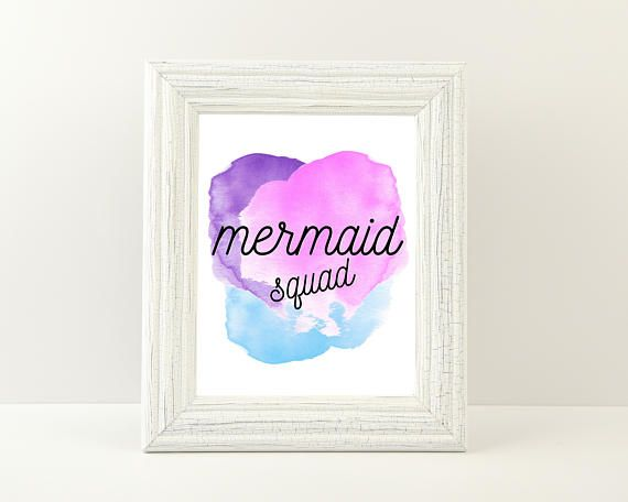 Mermaid Squad  Digital Download Instant Art Print Poster 8x10