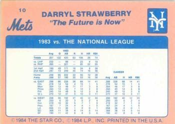 1984 Star Darryl Strawberry #10 Darryl Strawberry Back