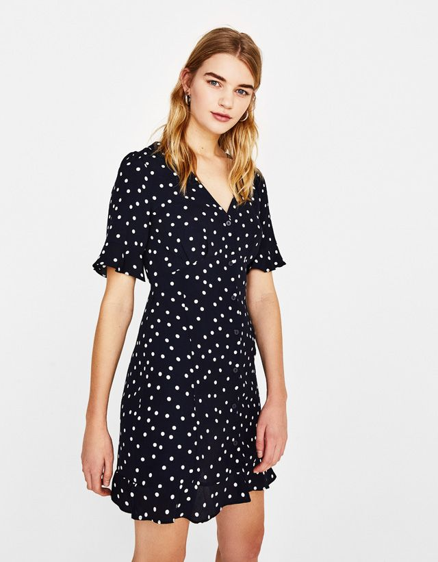 dbbd24cc8396 Polka dot shirt dress - Bershka #fashion #product #black #white #cool #girl  #girly #trend #trendy #polka #dots #dress #shirt #vestido #camisero  #lunares # ...