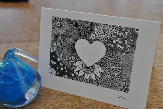heart silhouette cards - pack of six on Etsy, $10.00 AUD
