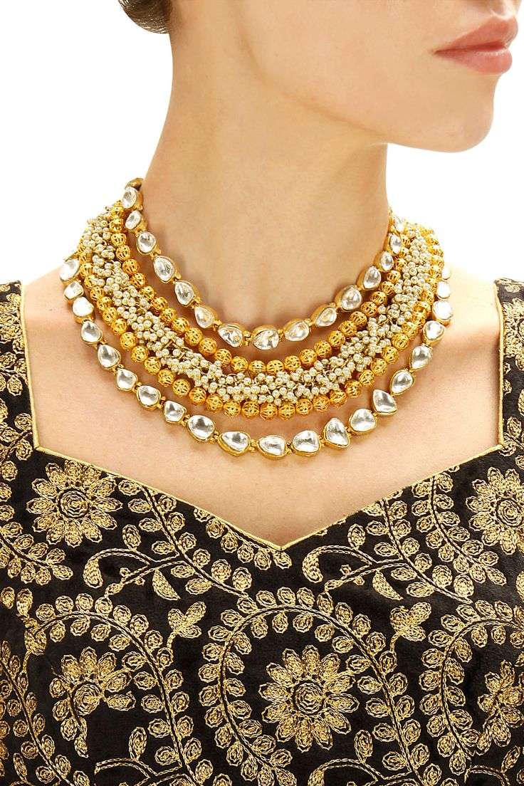 Gold finish filigree beads and baby pearl necklace available only at Pernia's Pop-Up Shop.