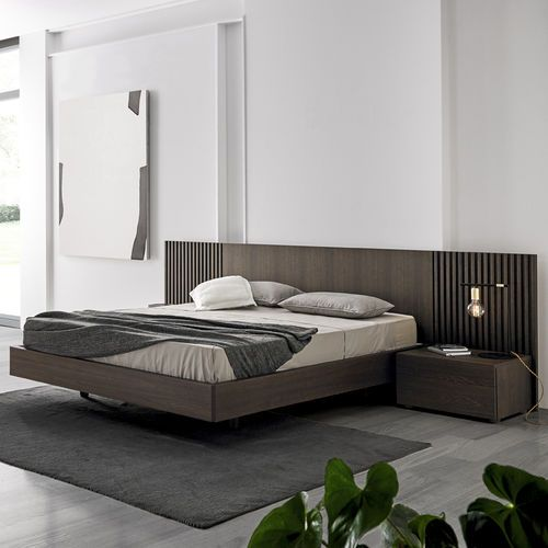 Double bed / contemporary / oak / wood veneer MIES by Odosdesign Mobenia