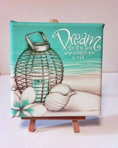 Lisa Pollock - DREAM Beach style Canvas Print - Desk size 12cm shell frangipani