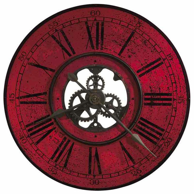 Contemporary Red Oversized Open Gear Wall Clock