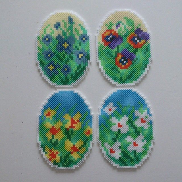 Easter eggs hama perler beads by pingpus - Pattern: https://www.pinterest.com/pin/374291419003854689/