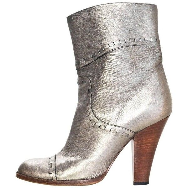 Preowned Marc Jacobs Bronze Metallic Ankle Boots Sz 35.5 ($140) ❤ liked on Polyvore featuring shoes, boots, ankle booties, ankle boots, grey, gray ankle boots, gray booties, grey ankle booties and bootie boots