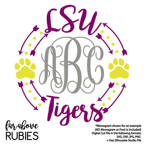 LSU Louisiana State University Tigers Monogram Frame (monogram NOT included) SVG, dxf, png, jpg digital cut file for Silhouette or Cricut