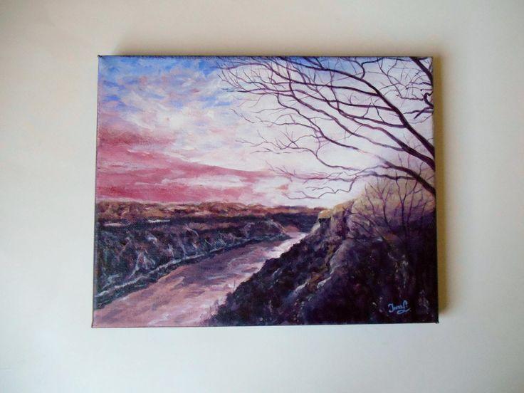 Original Painting on 10 X 8 Canvas Niagara River Landscape Painting Indigo Sunset Still Life Purple Sunset Painting Canadian Artist by SpiritualGiftGallery on Etsy