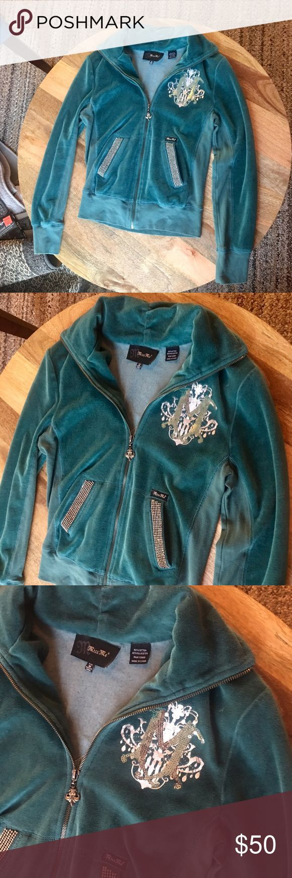 Miss Me Velour jacket Super cute track suit jacket!! Any questions please feel free to ask:) Juicy Couture Jackets & Coats