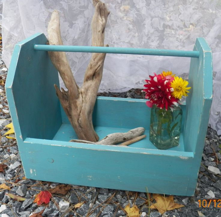 Farmhouse Wood tote, Tool tote, Distressed caddy, Tool box, Organizer, Garden tote, Toy box by onekindproducts on Etsy