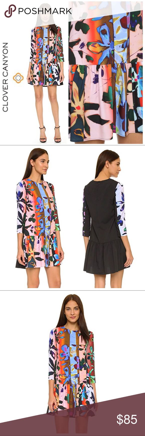 """Clover Canyon Riviera Sunrise Tunic Dress From the Resort '16 Collection, this dress from Clover Canyon is bold & vivid with abstract stripes and flowers. Highly sought after print and very rare dress style! The back is solid black and has a hidden zipper. Drop waist style with slight flare to skirt. 3/4 length sleeves. Loose, flowing fit. Size Small. Measurements: Chest 18"""". Drop Waist 20"""". Length (from top of shoulder) to drop waist 26"""" to bottom hem 36"""". 96% polyester 4% spandex. Like new…"""