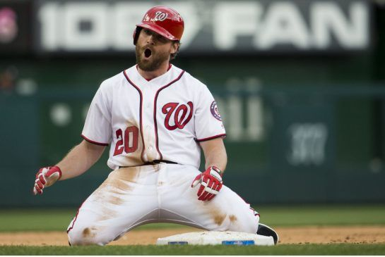 daniel murphy nationals | Washington Nationals Daniel Murphy screams after hitting a three-run ...